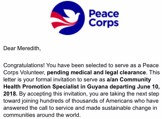 My Peace Corps Timeline